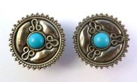 Vintage Sterling Silver Large Hemimorphite Mexican Style Earrings.